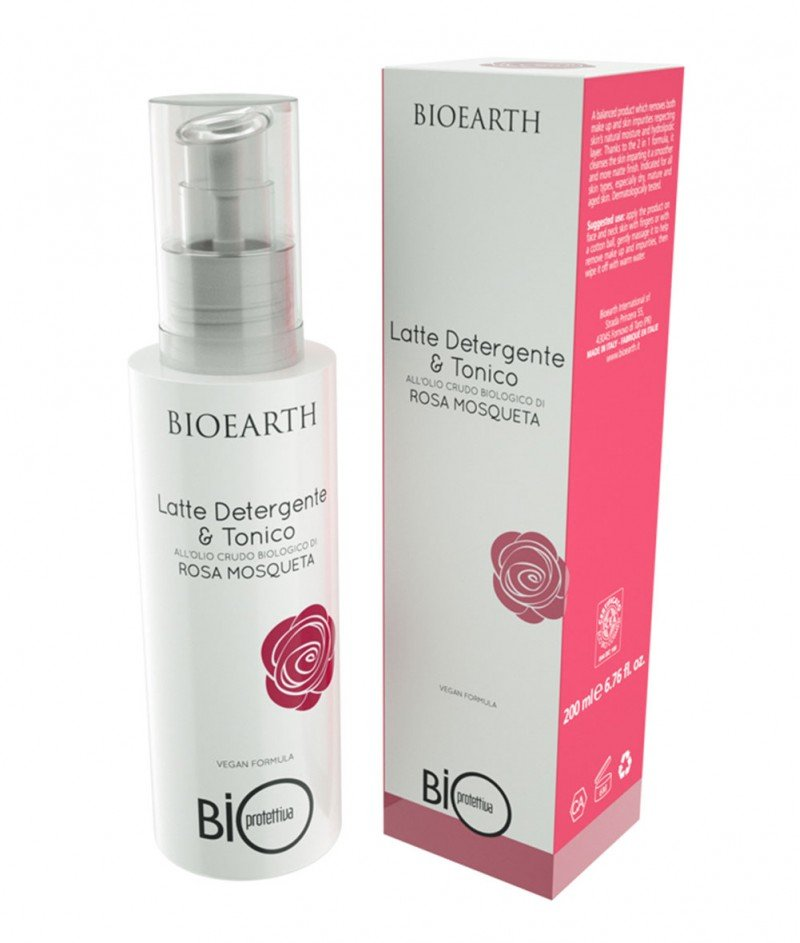 Тоалетно Мляко 2 в 1 Био Роза Москуета (Bio Rosa Mosqueta) 200 ml - Bioearth