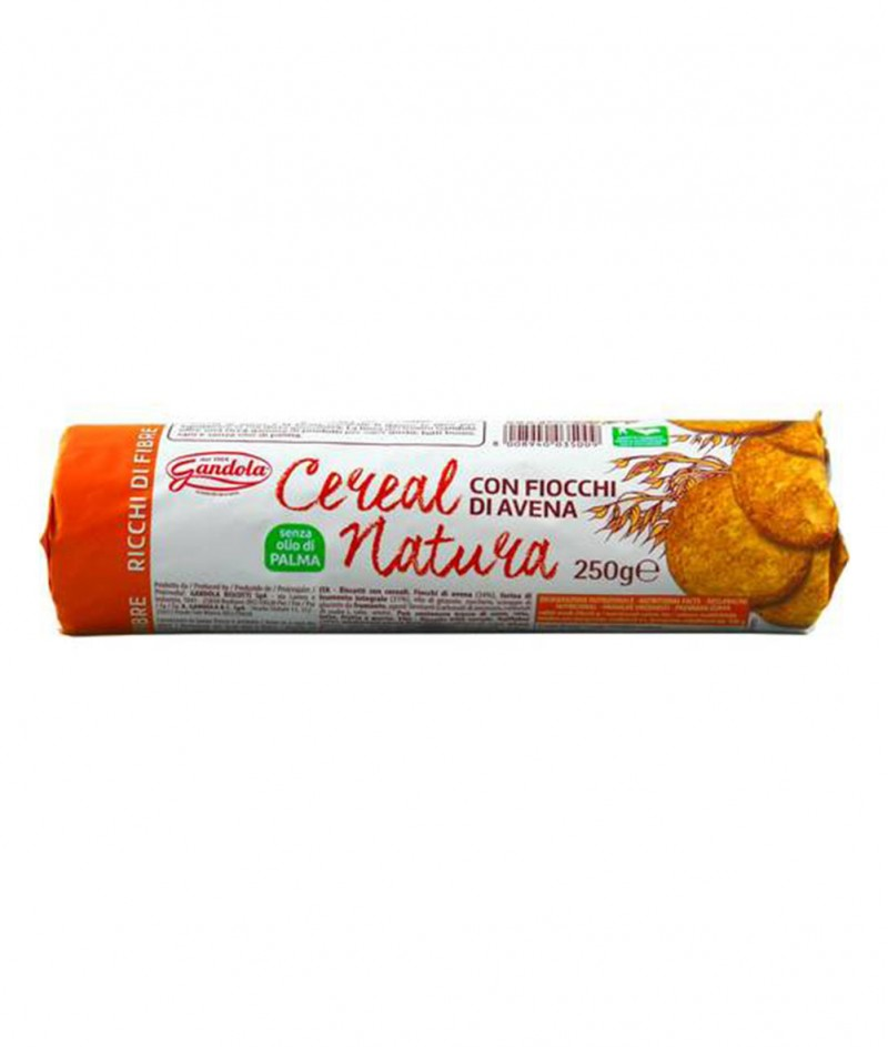 """Пълнозърнести Бисквити с Овес """"Cereal Natura"""" (Без Палмово Масло) 250 g - Gandola 1964"""