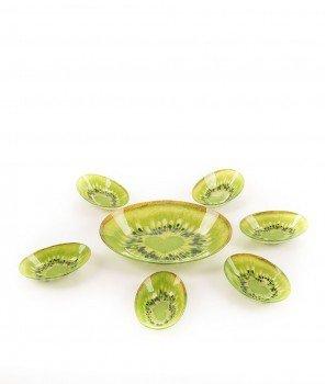 Стъклена Купа За Плодова Салата + 6 Купички ,, Киви''  - Kasanova