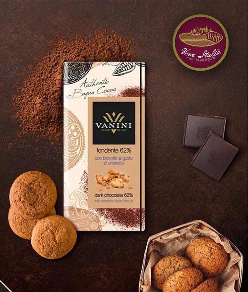 Тъмен Шоколад Vanini 62% Какао с Бисквита Амарето Gluten Free 100 g – Icam