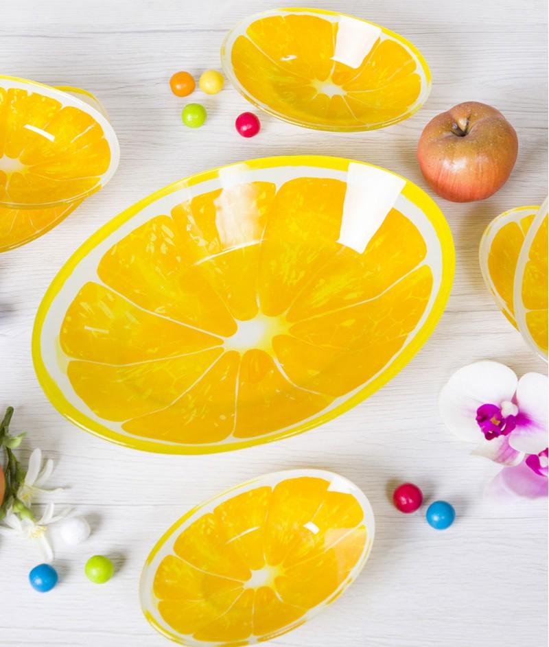 Стъклена Купа За Плодова Салата + 6 Купички ,, Лимон''  - Kasanova