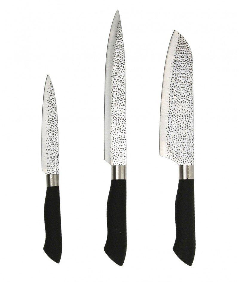 Комплект от Tри Ножа за Месо и Акрилна Поставка - Kasanova