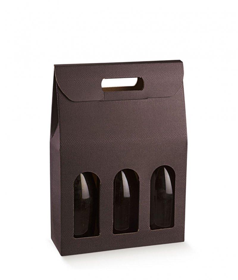 Подаръчна Кутия за 3 Вина Цвят Тъмна Марсала - Scotton