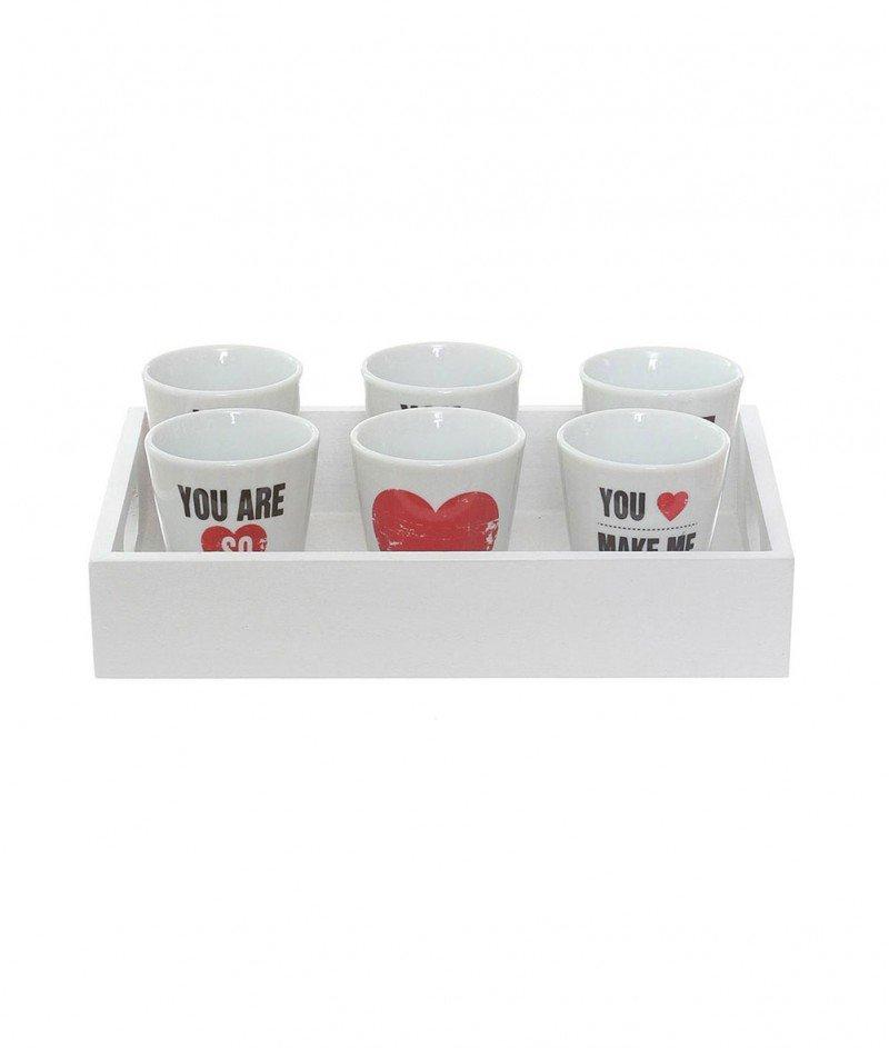 Сет 6 Чашки за Кафе, Ракийка или Шотове ''Love'' с Дървено Подносче - Kasanova