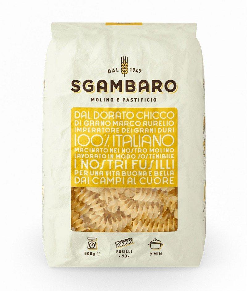 Паста ''Фусили'' N°93 от Твърда Пшеница Марко Аурелио - Трафилата ал Бронзо 500 g  - Sgambaro 1947