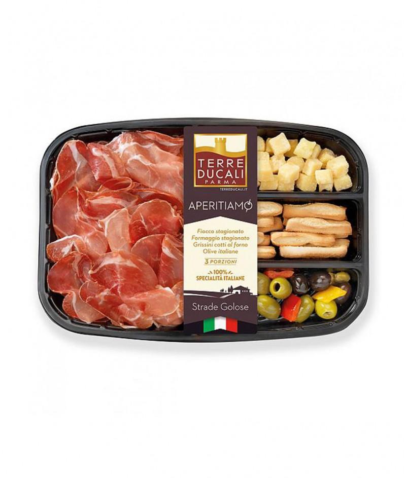 Италиански Аперитив от Прошуто, Кашкавал, Маслини и Грисини 150 g - Terre Ducali Parma