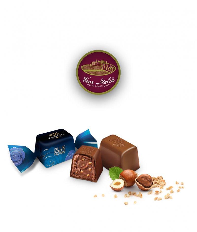 Кутия Шоколадови Бонбони Пралини Blue Rose (Синя Роза) Vanini 255 g – Icam