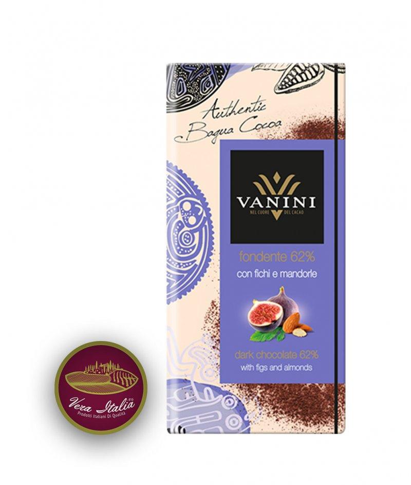 Натурален Шоколад Vanini 62% Какао Багуа с Бадеми и Смокини 100 g – Icam