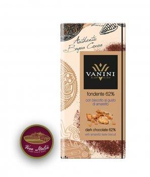 Натурален Шоколад Vanini 62% Какао Багуа с Бисквита Амарето 100 g – Icam