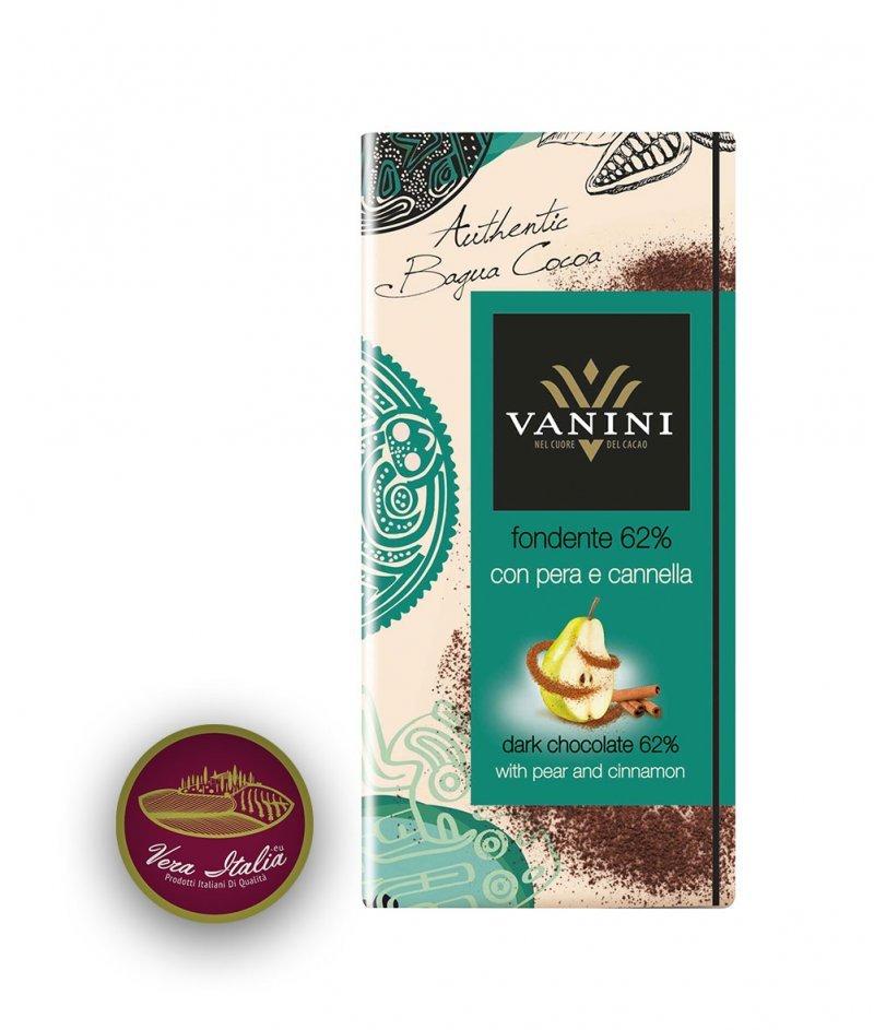 Натурален Шоколад Vanini 62% Какао Багуа с Круша и Канела 100 g – Icam